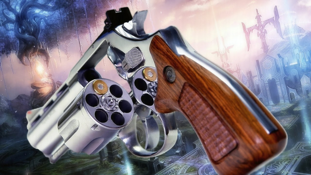Six-shooter with one cartridge