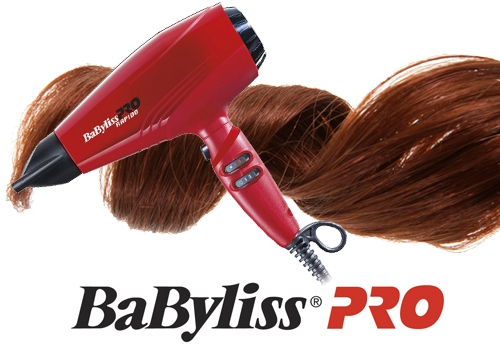 Red hairdryer BaByliss PRO