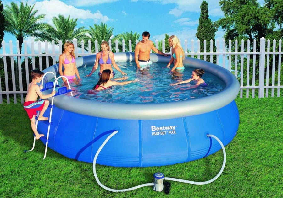 Family in inflatable pool