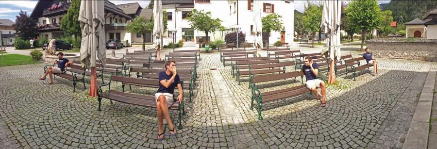 Panorama with houses and benches
