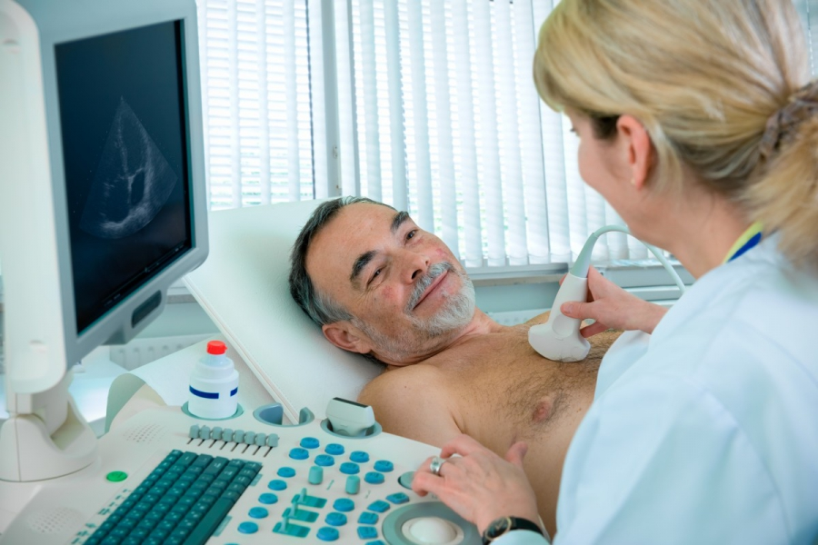 Patient on ultrasound of the heart