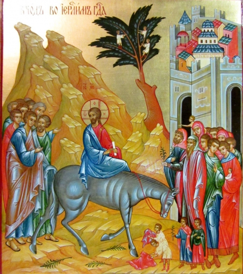 The entrance of the Lord to Jerusalem - an icon