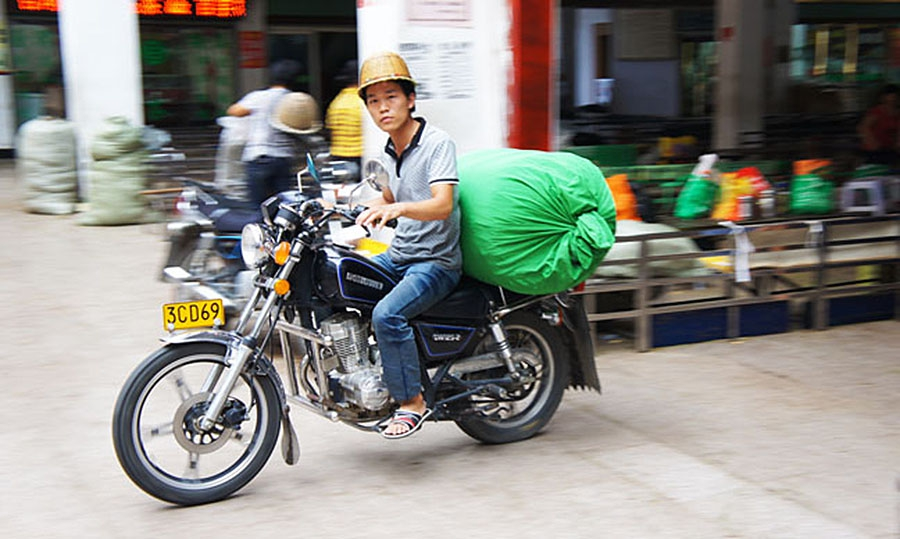 Courier motorcyclist