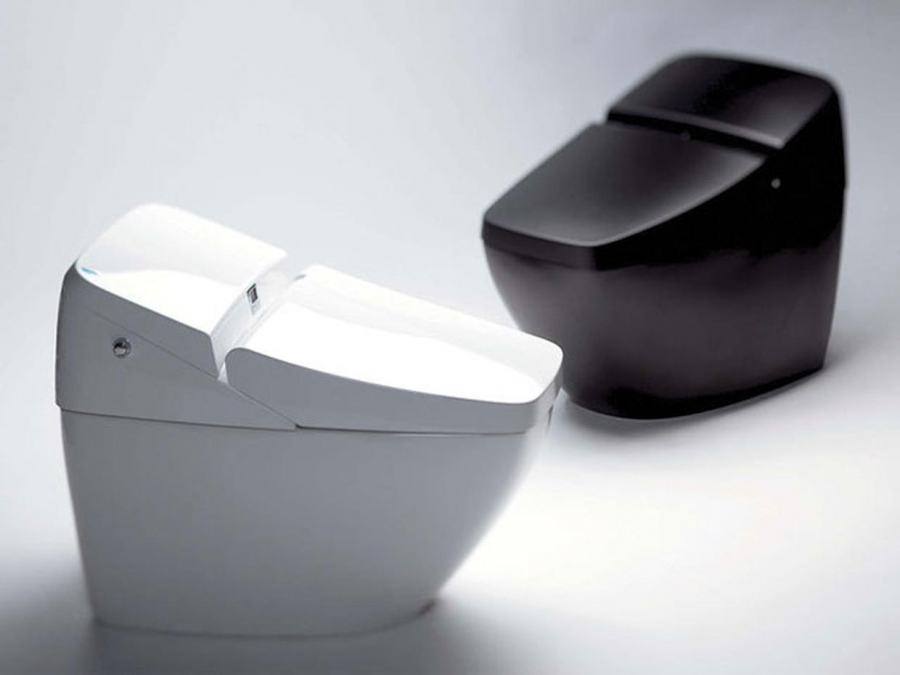 Black and white toilet bowls