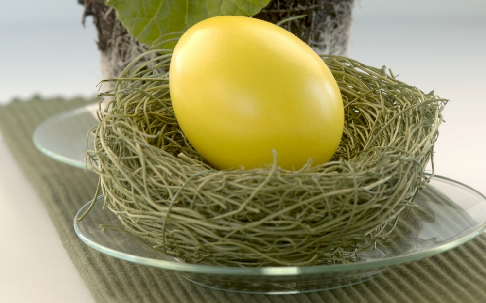 Yellow painted egg