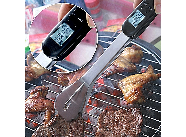 Grilling tongs with sensors and timer