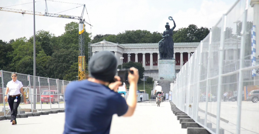 Guy removes a monument