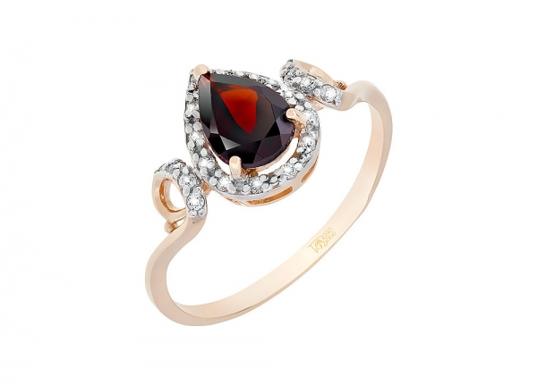 Ring with pomegranate