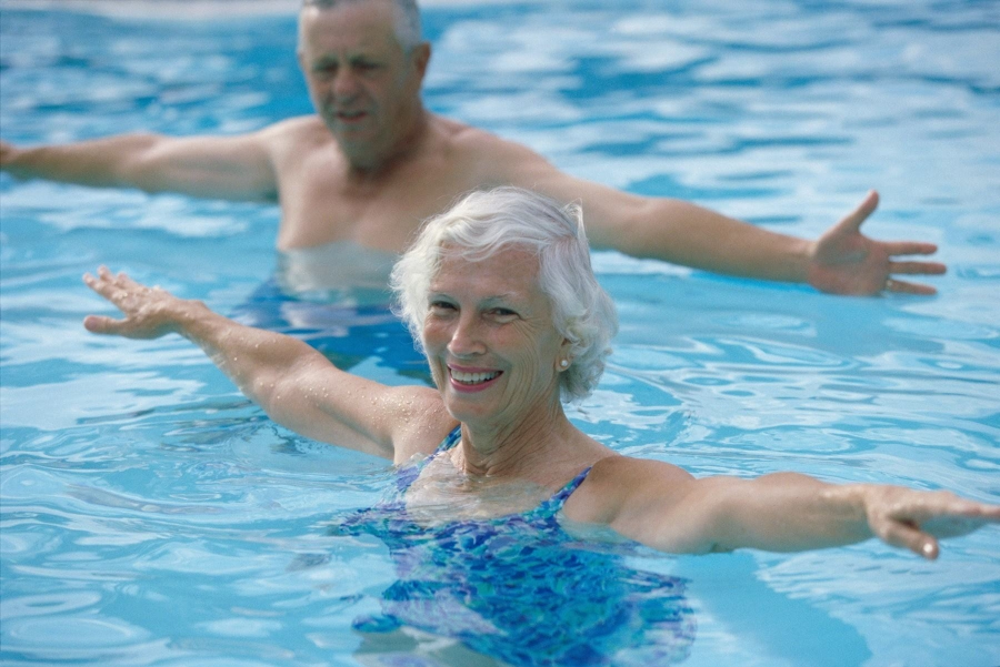 Older people in the water