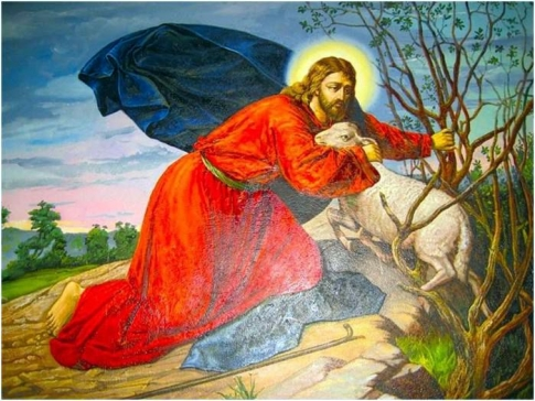 Christ with a lost sheep