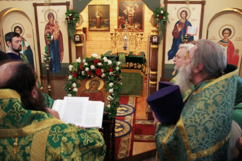 Prayers in front of the icon of Xenia