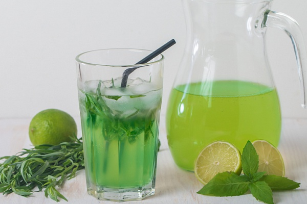 Tarragon in a glass and jug