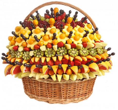 Bouquet of fruits and sweets