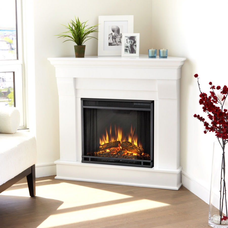 Corner electric fire