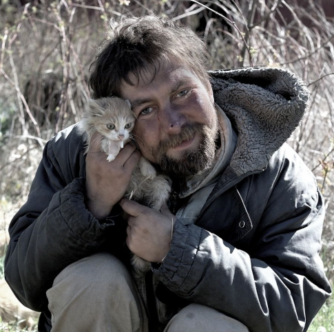 Homeless with a kitten