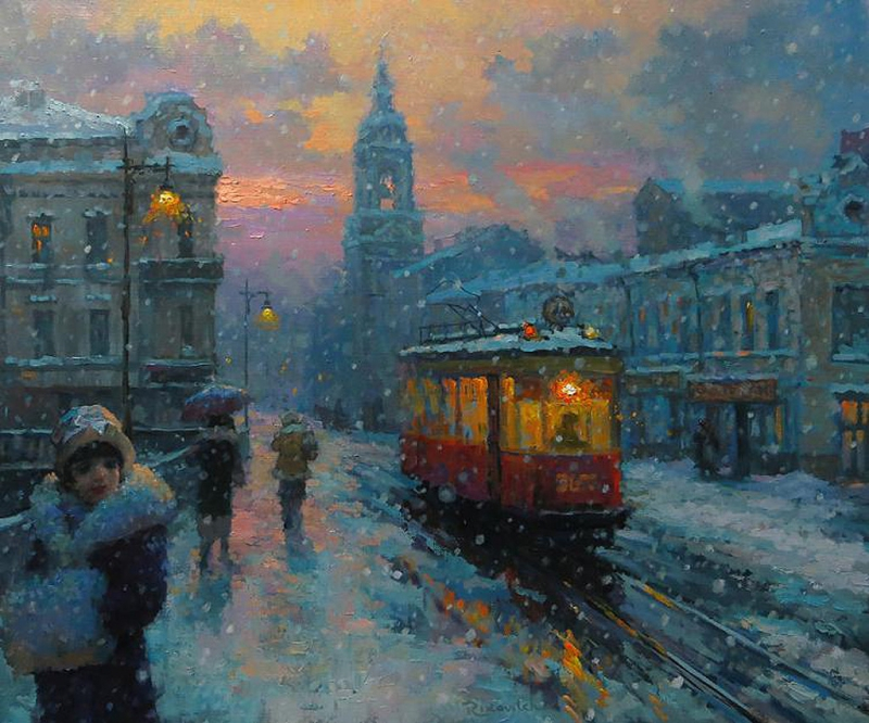 Tram in the winter city