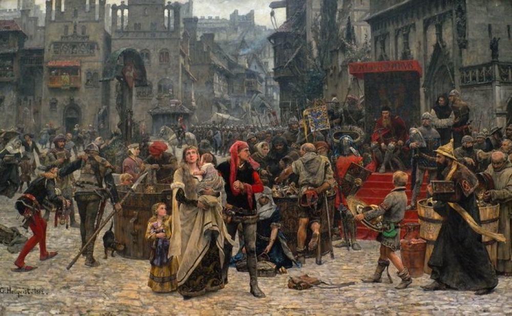 Crowded square in the middle ages