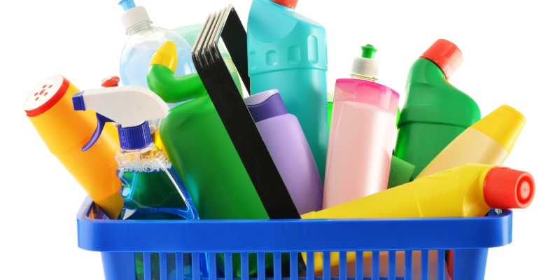 Cleaning products in the basket