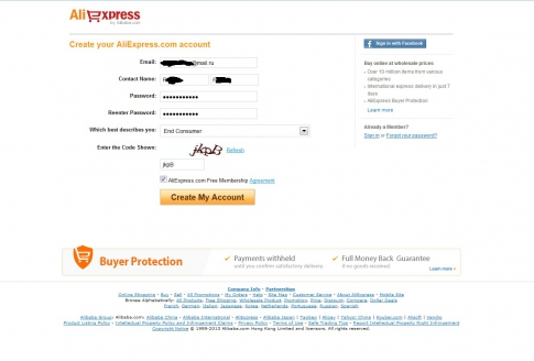 Registration for aliexpress