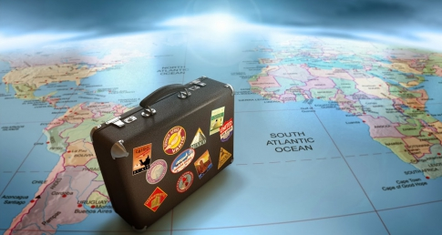 Suitcase and World Map