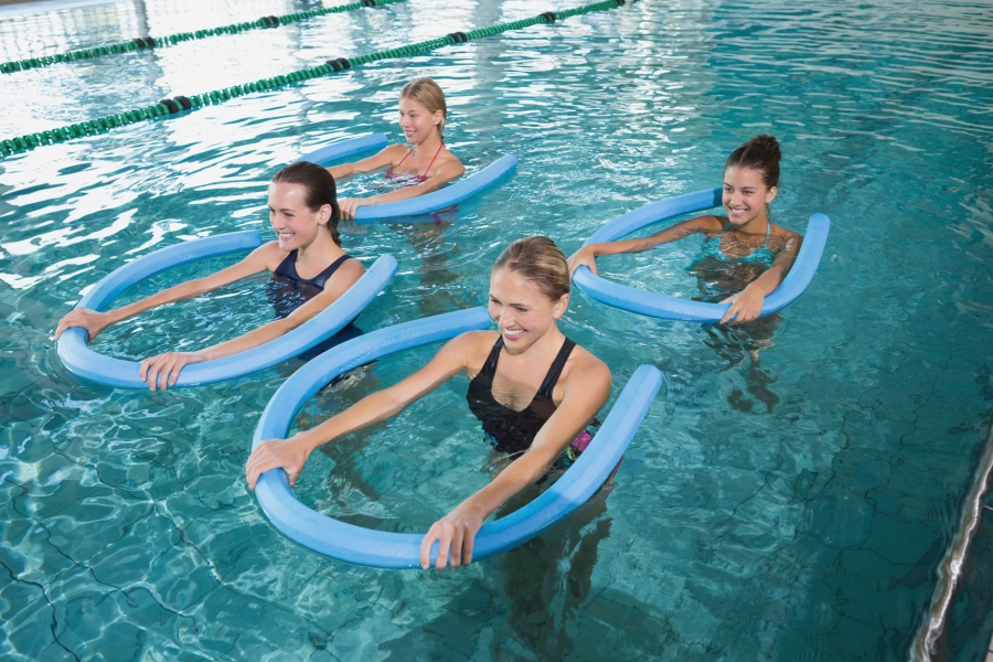 Girls are engaged in water aerobics