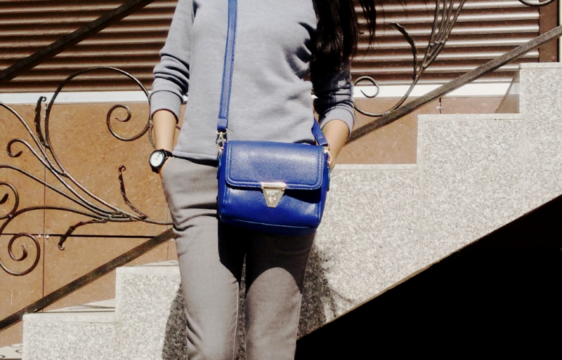 Girl with a blue bag