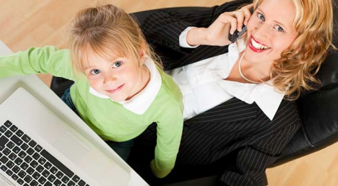 Business woman with her daughter
