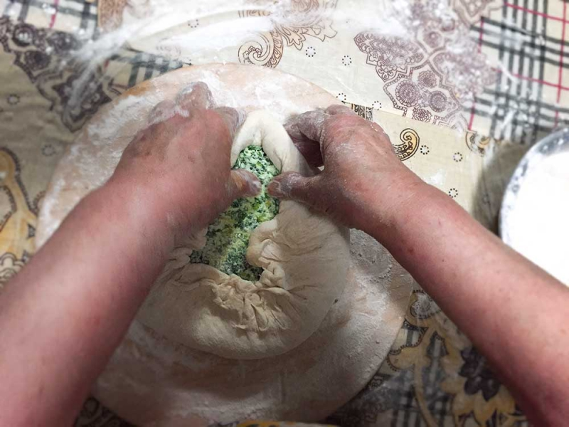 Bag of dough with filling