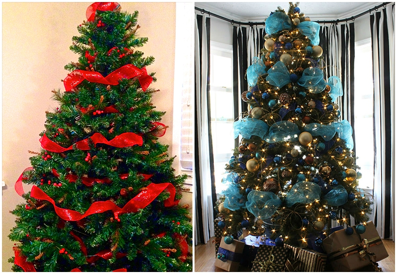 Christmas trees with horizontal ribbons