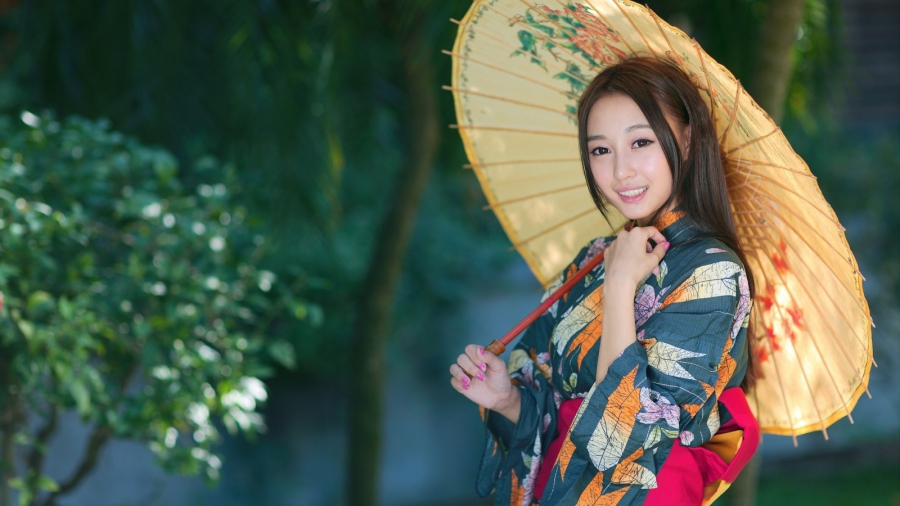 Japanese woman in national costume
