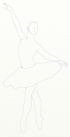 How to draw a ballerina, step 4