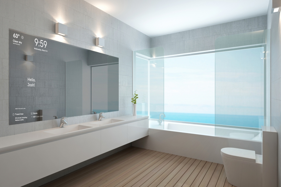 Bathroom with electronic mirror