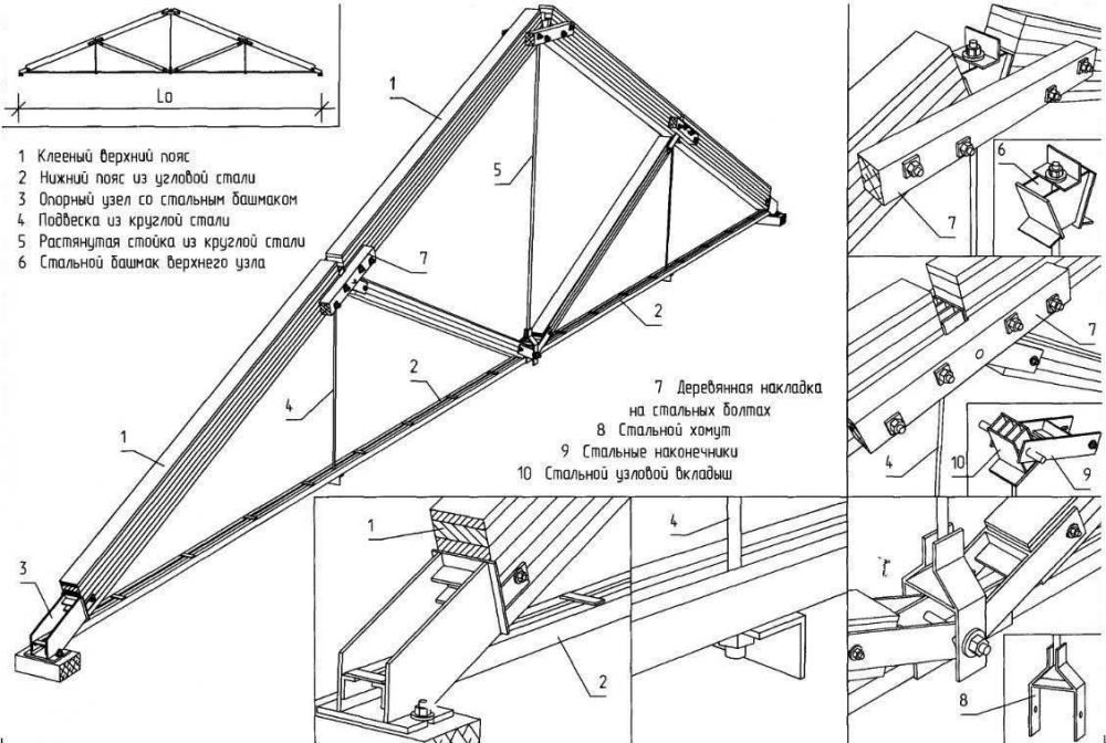 Drawing of the metal-wooden frame