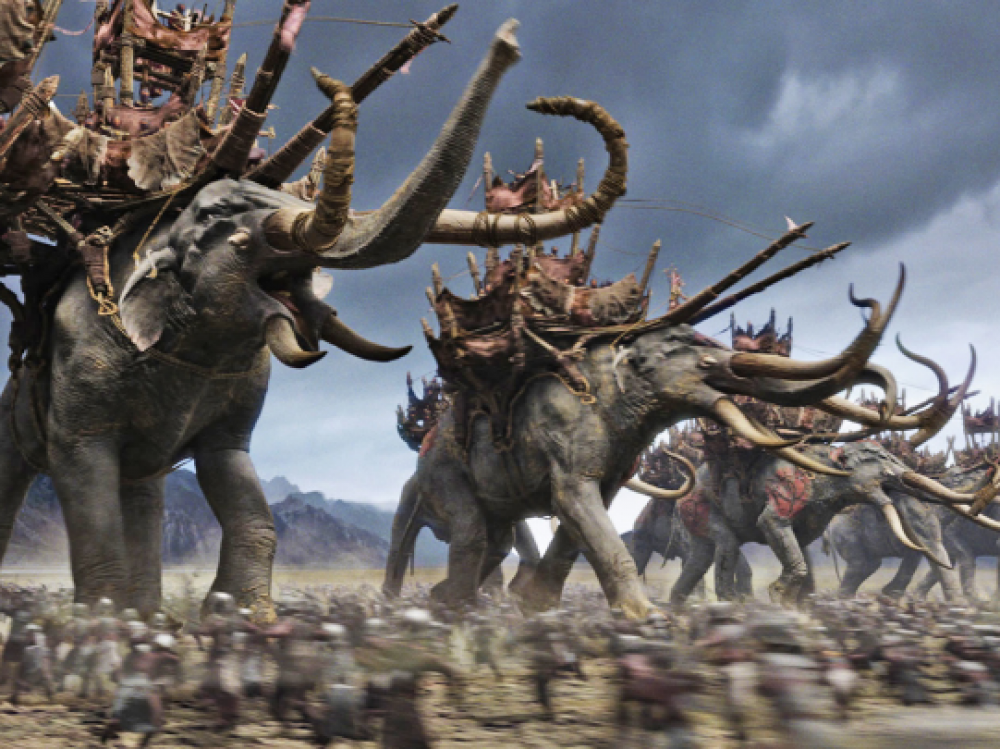 Troop attack with war elephants