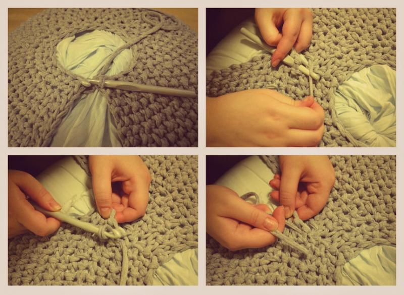 Пуф своими руками – необычное вязание гигантскими спицами